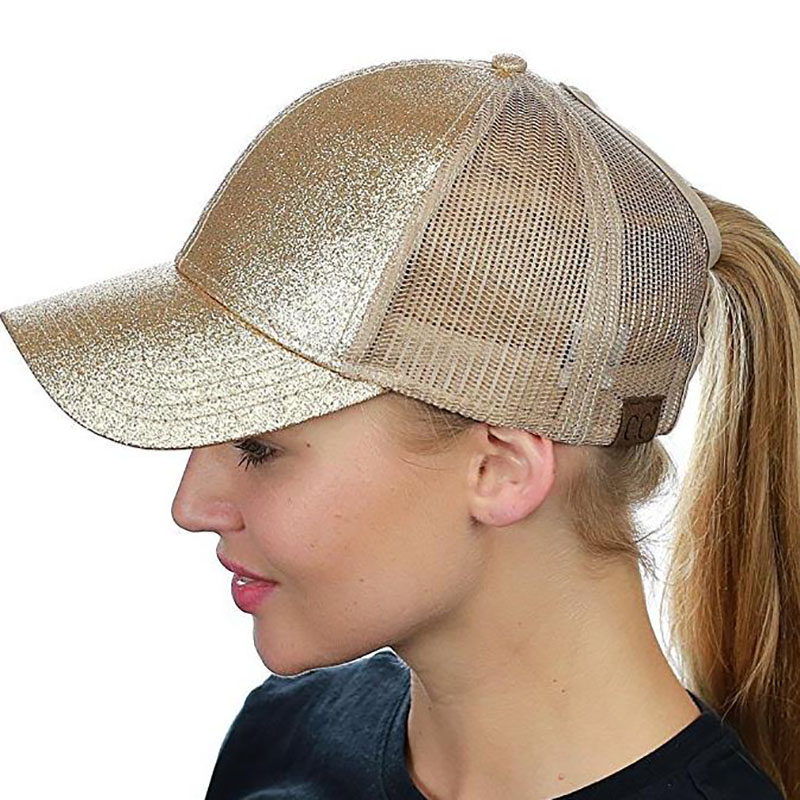 Fashion <font><b>Glitter</b></font> <font><b>Ponytail</b></font> <font><b>Baseball</b></font> <font><b>Cap</b></font> <font><b>Women</b></font> Messy Bun Snapback Summer Mesh Hats Adjustable Casual Sport Sequin Hip Hop Hats image