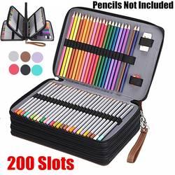 200 Slot Portabel Berwarna Pensil Case Pemegang Tahan Air Kapasitas Besar PU Kulit Tas Pensil Kotak untuk Mahasiswa Hadiah Perlengkapan