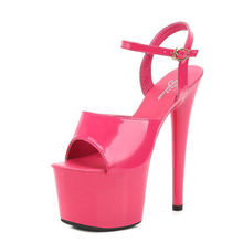 Patent leather sandals, 17 cm special stiletto heels sexy hate day superb high female summer model sandals(China)