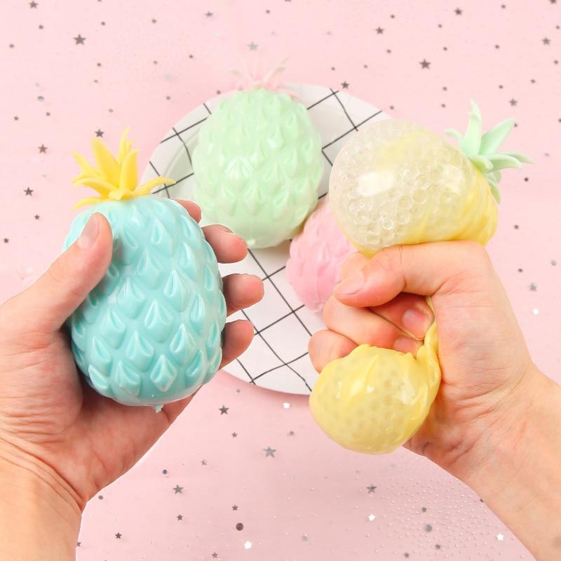 Забавный мягкий антистрессовый мяч с ананасом, игрушка для снятия стресса для детей и взрослых, Сжимаемый антистресс, креативная сенсорная ...