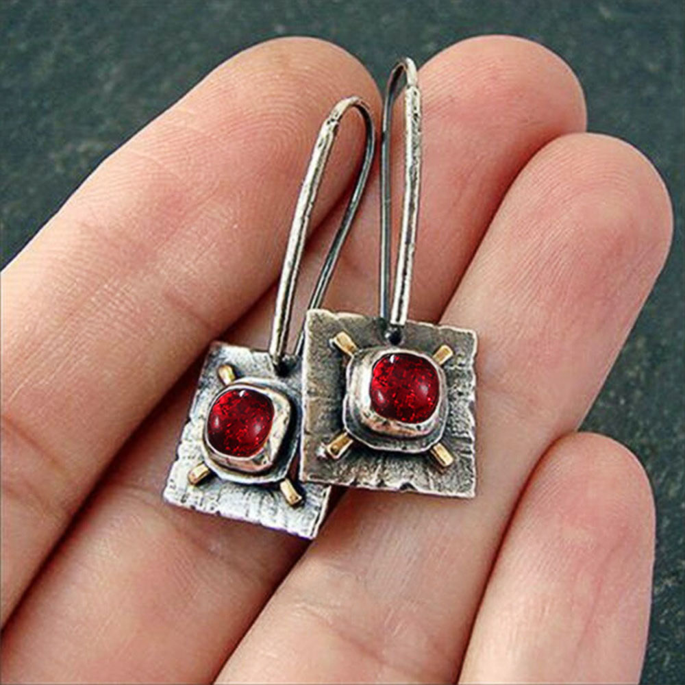 Yobest Retro Crystal Dangle Earrings for Women Lady Vintage Silver Color Red Stone Wedding Party Drop Earrings Jewelry Gifts