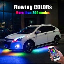4 sztuk 12V IP65 kontrola aplikacji Bluetooth płynący kolor listwy RGB LED pod samochodem 90 120cm Tube Underglow Underbody System lampa neonowa