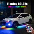4PCS 12V IP65 Bluetooth App Control Fließende Farbe RGB LED Streifen Unter Auto 90 120 180 Rohr Underglow unterboden-system Neon Licht