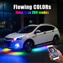 4PCS 12V IP65 Bluetooth App Control Flowing Color RGB LED Strip Under Car 90 120 180 Tube Underglow Underbody System Neon Light