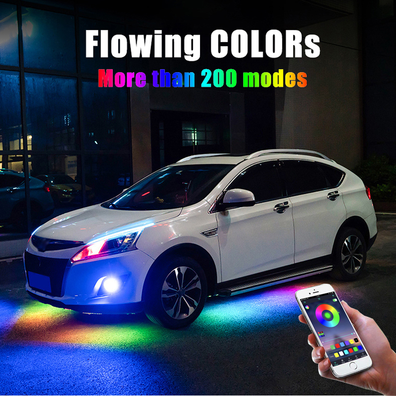 4PCS 12V IP65 Bluetooth App Control Flowing Color RGB LED Strip Under Car 90 120cm Tube Underglow Underbody System Neon Light
