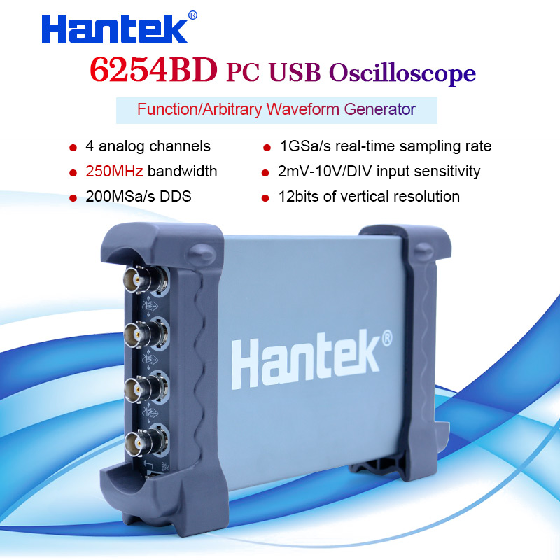 Hantek 6254BD Osciloscopio PC Basierend Handheld Oszilloskop Digitale 4 Kanäle 250MHz USB Oscillograph mit 25MHz Signal Generator-in Oszilloskope aus Werkzeug bei AliExpress - 11.11_Doppel-11Tag der Singles 1