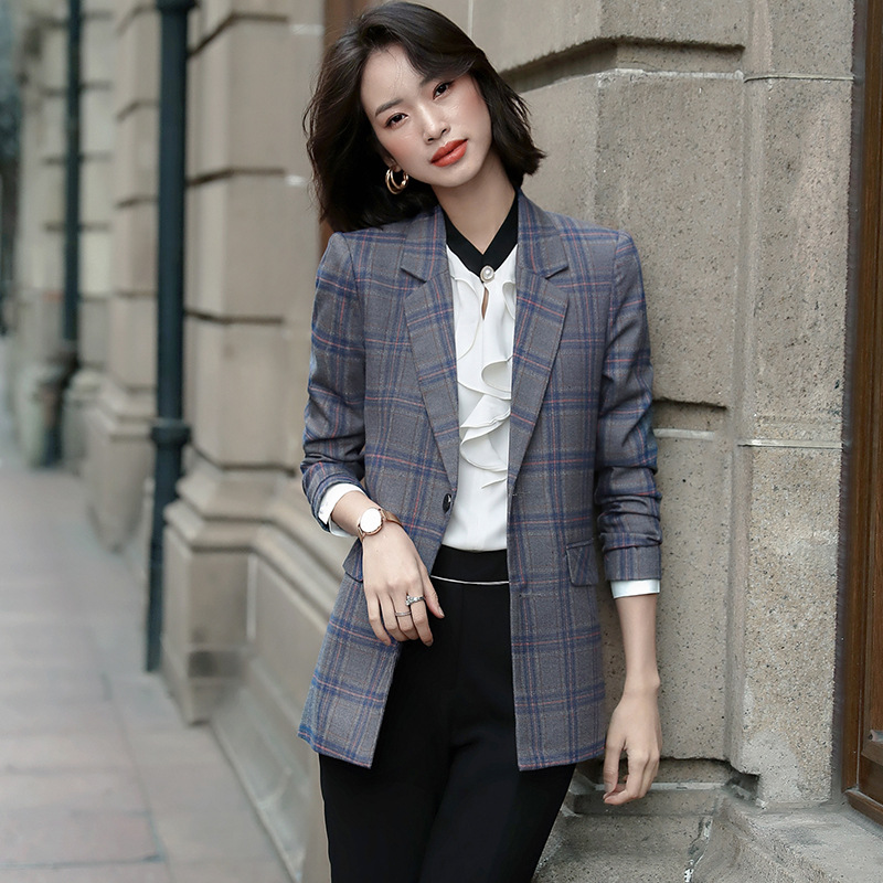 High Quality Autumn Ladies Jacket Suit Casual Single-breasted Long-sleeved Office Blazer 2019 New Plaid Jacket Female S-4XL