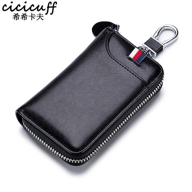 עור אמיתי גברים של מפתח ארנק עם רכב מפתח כיס Keychain כיסוי רוכסן מפתחות Keeper נשים מפתחות ארגונית מקרה גדול קיבולת
