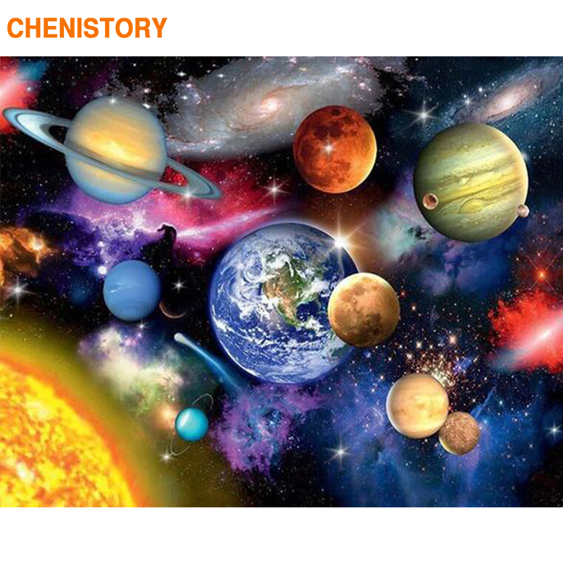 CHENISTORY Earth Space DIY Painting By Numbers Modern Wall Art Picture Coloring By Numbers Unique Gift Paint By Numbers For Home