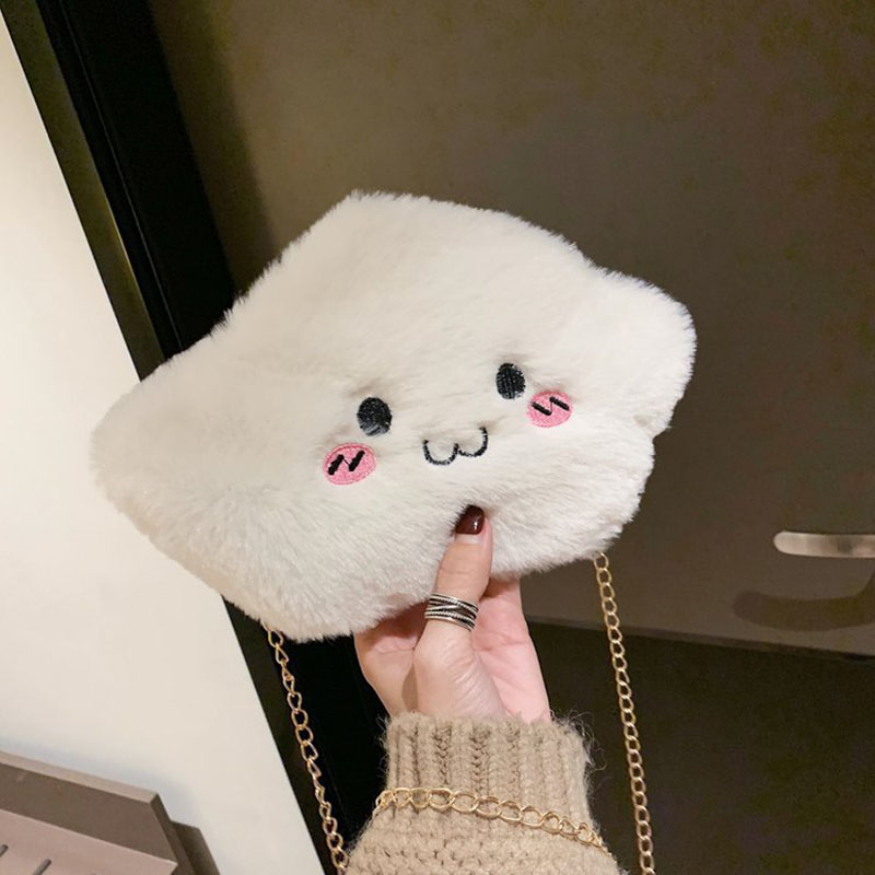 Lovely Bags Plush Crossbody Bag Soft Preppy Cloud Shoulder Messenger Bag For Child Girl Cute New Winter Party Gifts