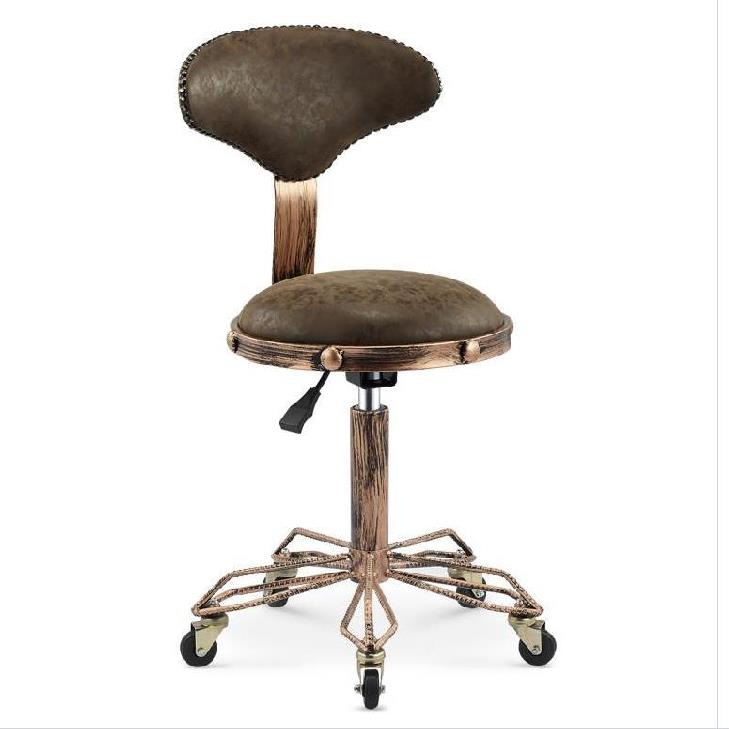 Height Adjustable Nail Embroidery Chairs with High Elastic Sponge Retro Bronze Barber Chair Rotate Lift Beauty Stools   - title=