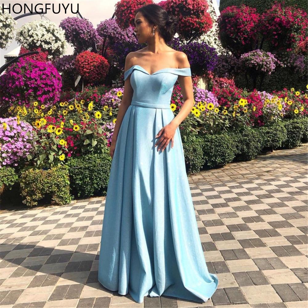 HONGFUYU Off-shoulder Cinderella Prom Dresses A Line Satin Sequin Formal Evening Dress Long Sparkly robe de soirée Floor Length