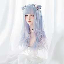 LUPU Long Straight Hair Wig With Bangs Fashion Ombre Light Blue Pink Cosplay Lolita Wig Synthetic Wigs For Women Heat Resistant(China)