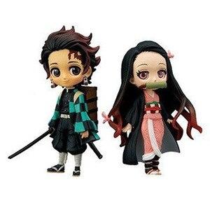 Image 5 - 7cm Anime figurka Demon Slayer: Kimetsu no Yaiba Kamado Tanjirou i Kamado Nezuko Q wersja PVC zabawki modele do kolekcjonowania