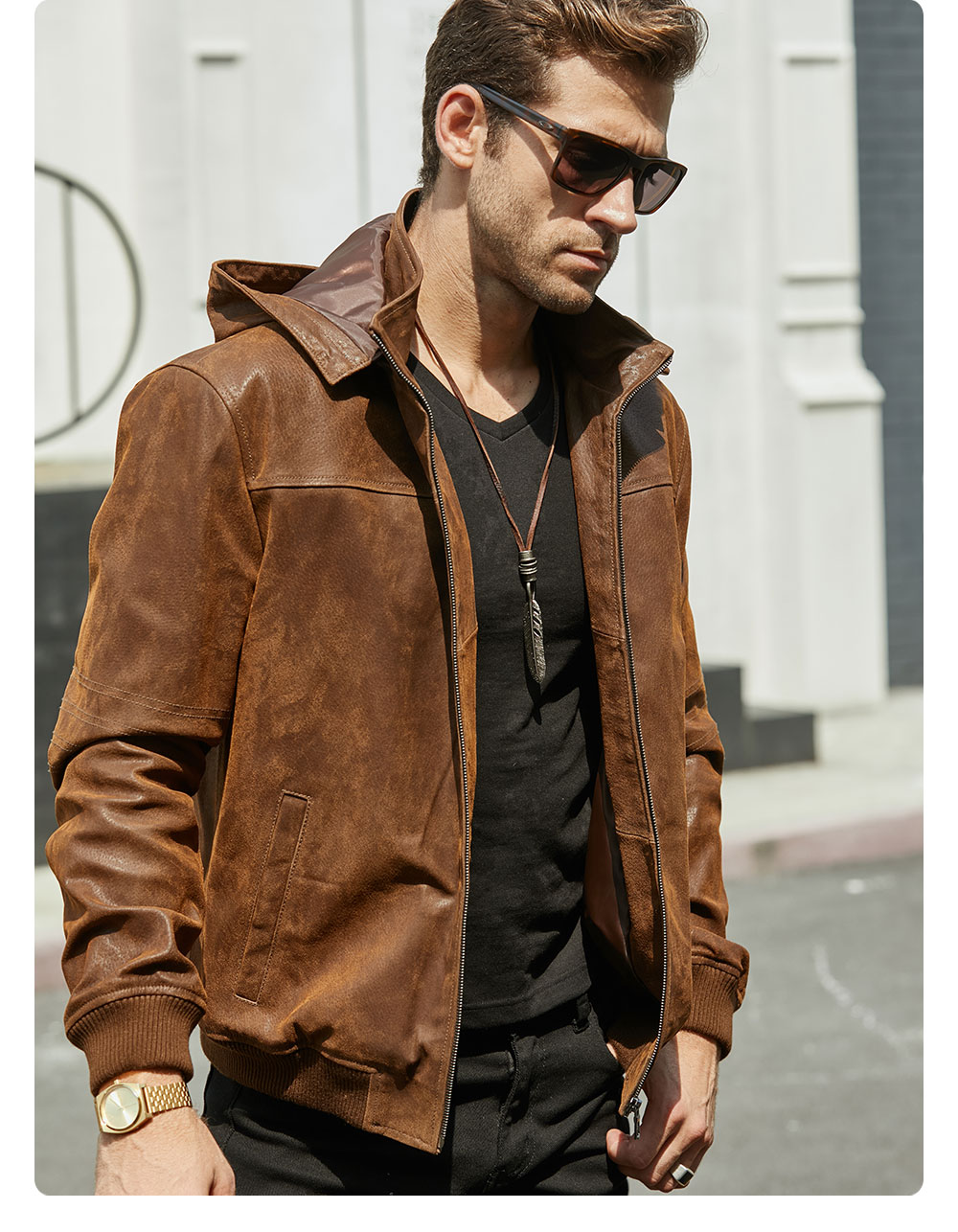 H3ea6bf319452428da7f060def214b53fD New Men's Winter Jacket Made Of Genuine Pigskin Leather With A Hood, Pigskin Motorcycle Jacket, Natural Leather Jacket