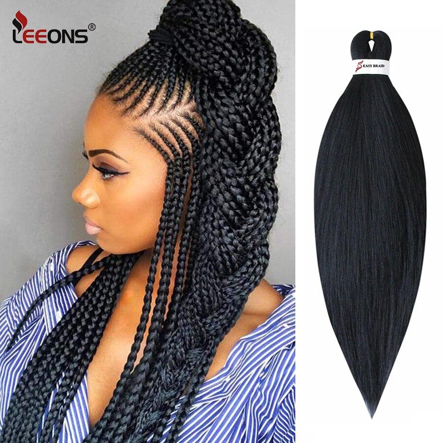 Leeons Ez örgü saç önceden gerilmiş örgü saç 26 inç örgü saç kolay örgü saç saç ekleme Jumbo örgüler kadınlar için