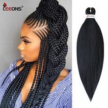 Leeons Ez warkocz włosy wstępnie rozciągnięte włosy plecione 26 cali warkocz łatwe włosy plecione rozszerzenia Jumbo warkocze dla kobiet