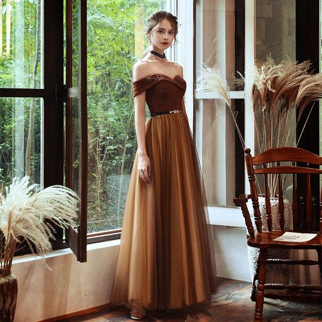 SSYFashion New Vintage Coffee Color Evening Dress Boat Neck Sequins Beading Floor-length Long Formal Gowns Vestidos De Noche 3
