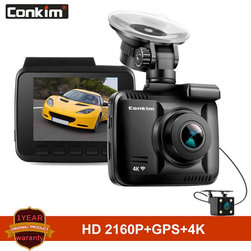 Conkim DVR Novatek para coche con dos cámaras Ultra 4K HD DVR Dash cámara integrada GPS WIFI Cam grabadora de vídeo de coche lente de visión trasera Dual