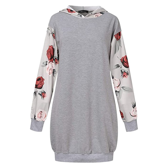 2021 Fashion Women Dresses Autumn Winter Elegant Floral Printed Jurk Hooded Pockets Short Female Sweatshirt Dress Femme #t2g 3