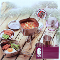He-Outdoor 6-Piece Pot Camping Stainless Steel Cookware 2-3 Person Portable Barbecue Combination Pot Mountaineering Picnic Set