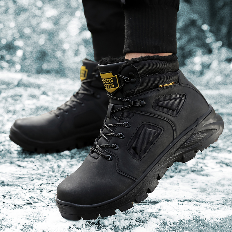 Men High Quality Fashion Sneakers Leather Winter Warm Men Boots Shoes Thick Sole Male Snow Boots Outdoor Rubber Men Ankle Boots in Snow Boots from Shoes