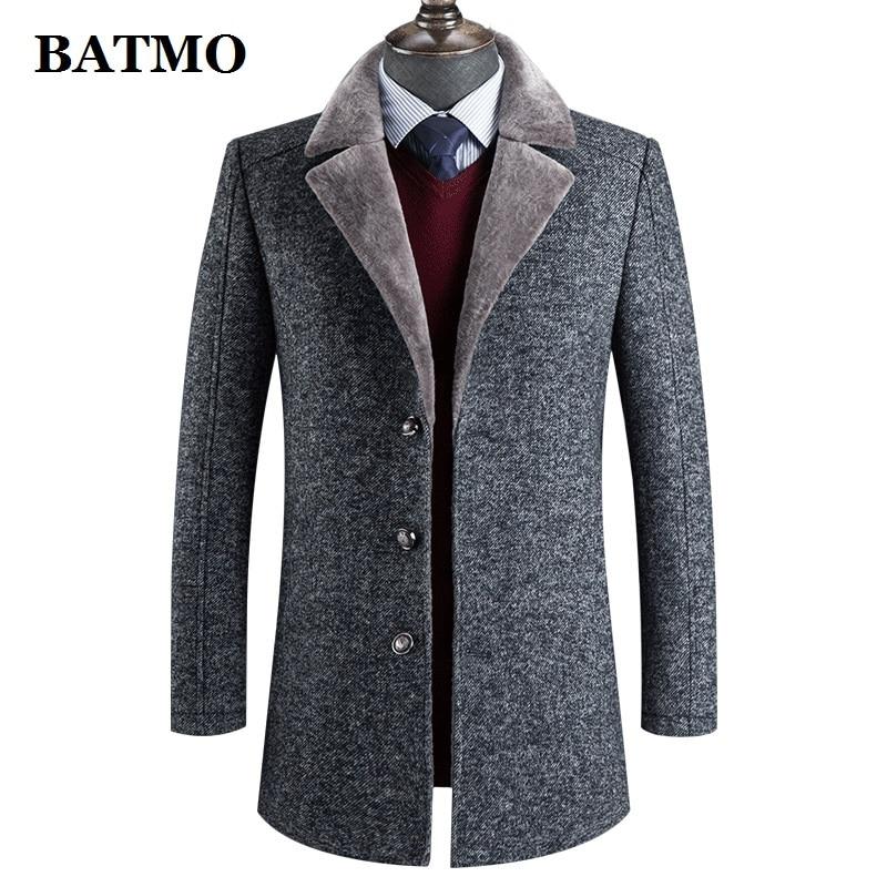 BATMO 2019 new arrival winter wool thicked trench coat men,men