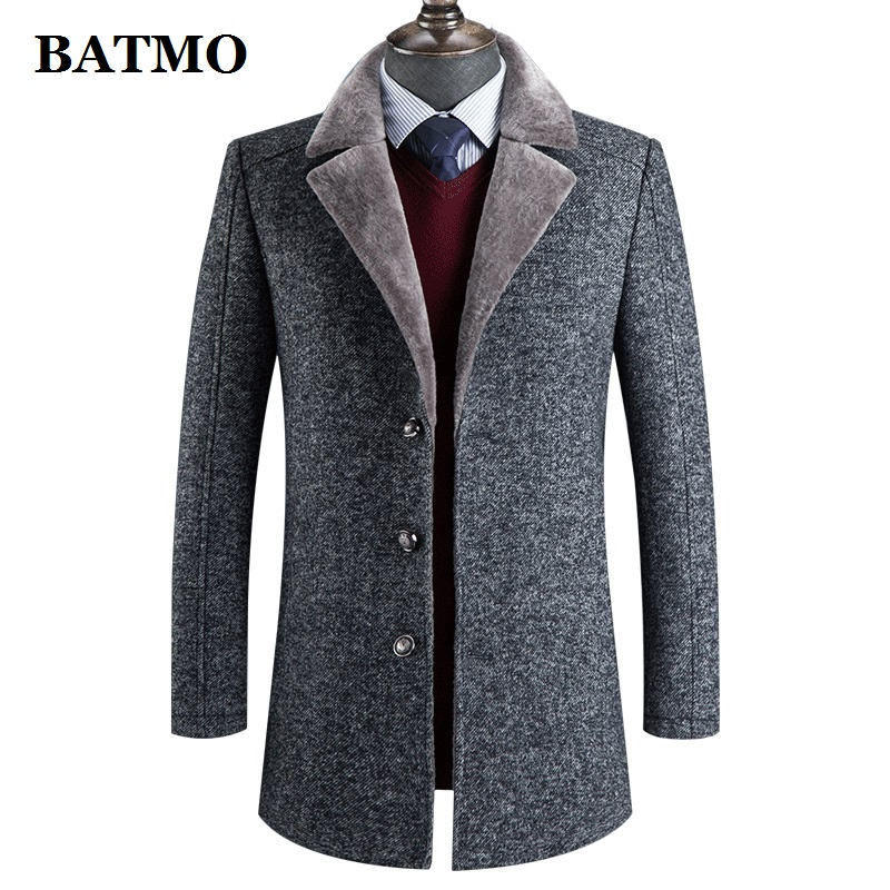 BATMO 2019 new arrival winter wool thicked trench coat men,men's casual wool 60% jackets,788
