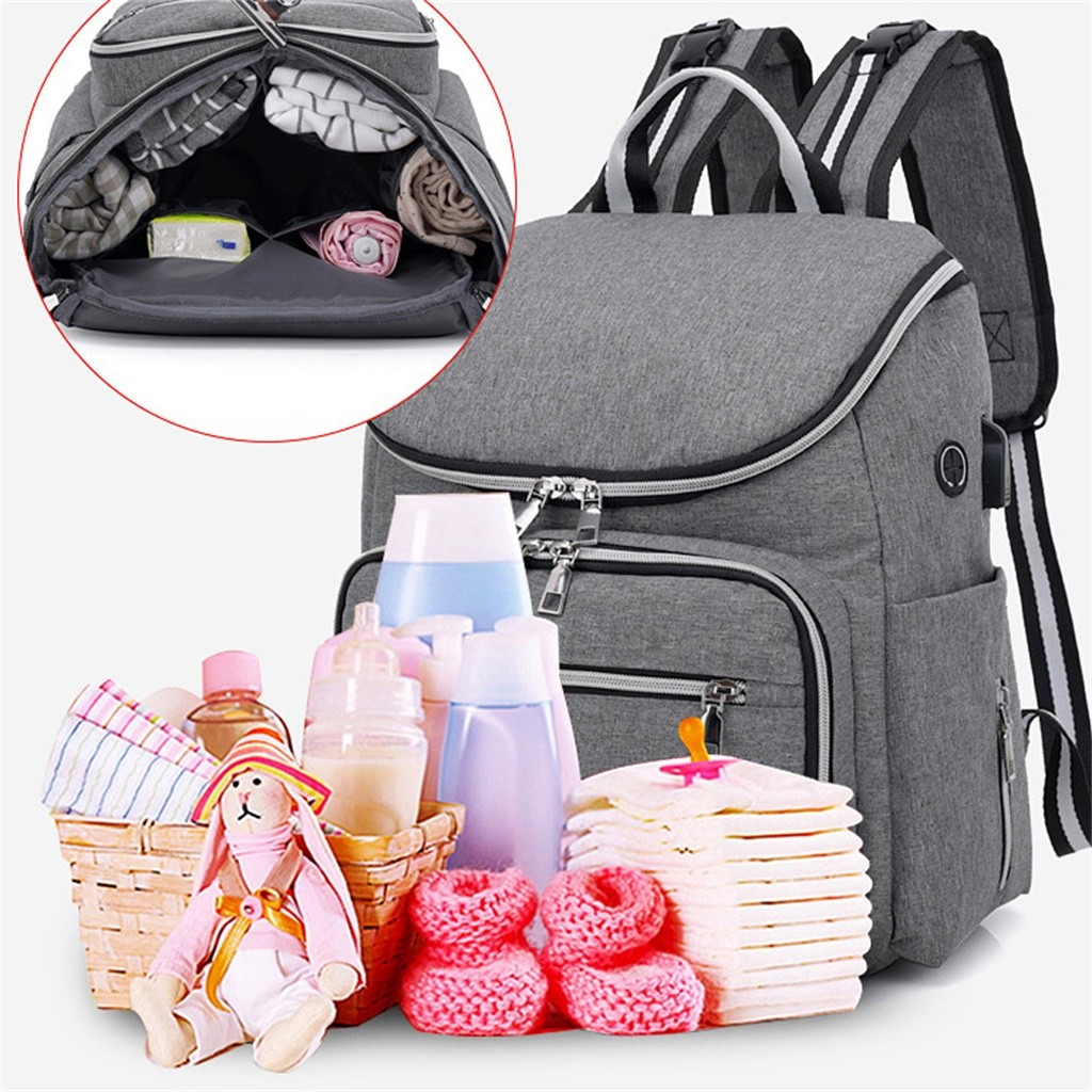 Maternity Baby Bag Nappy Diaper Mummy Multi-use Changing Backpack USB Rucksack