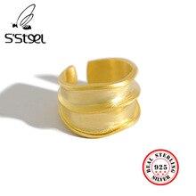 SSTEEL 925 anillos de plata esterlina de acero para mujer, anillo abierto, Anelli Argent, Argent Massif, joyería para mujer