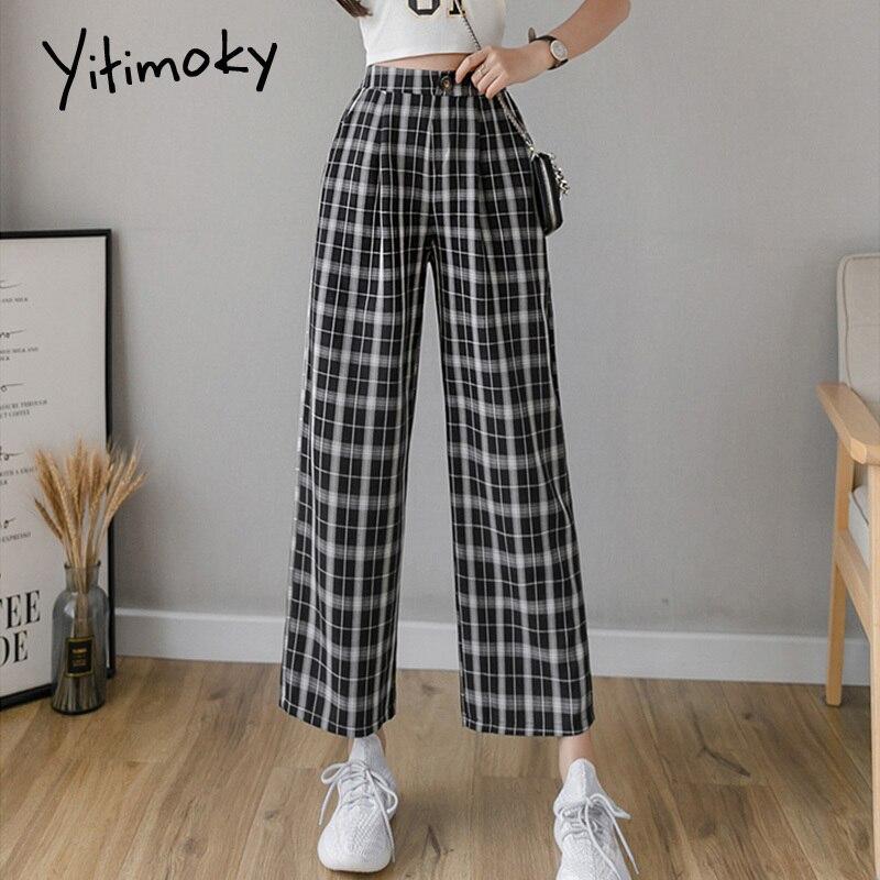 Cotton And Linen Plaid Pants Elastic Waist Pants Women High Waist Plus Size Wide Leg Pants Casual Female Korean Trousers Women