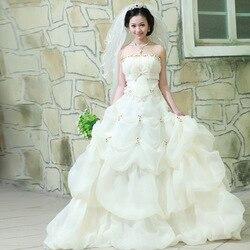 Wedding Dress Strapless Ball Gown Sweep Train Wedding Gowns Sweet Appliques Wedding Dress 2019 Vestido De Noiva