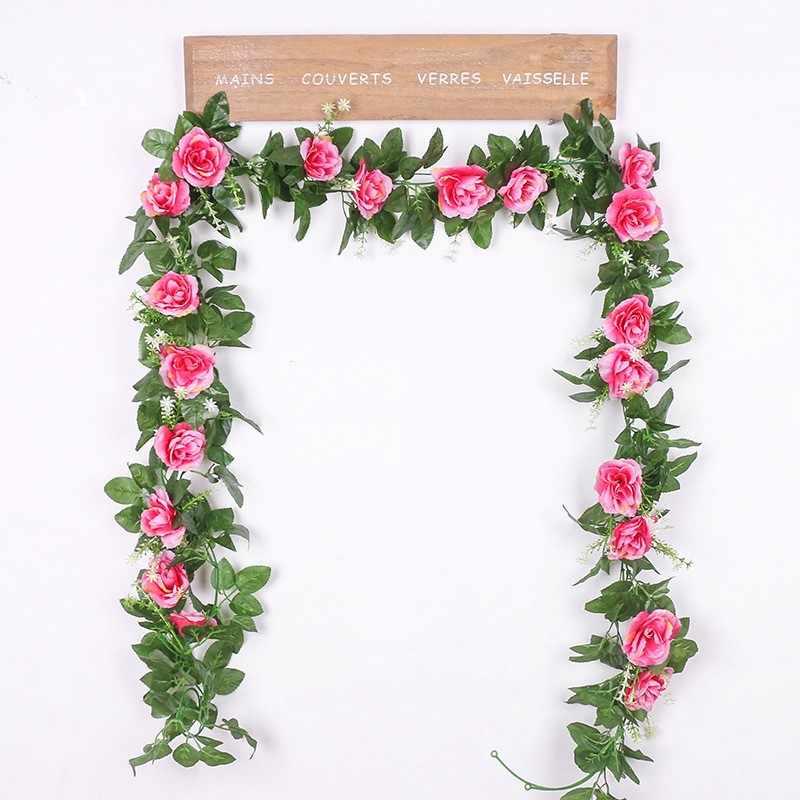 1Pc Zijde Kunstmatige Rose Bloemen Vine Fake Planten Bladeren Rose Opknoping Bloem Rotan Voor Wanddecoratie Bruiloft Boog Guirlande