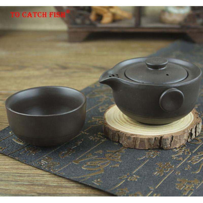 Ceramics Black Tea Set Include 1 Pot 1 Cup, Travel Teapot  Elegant Gaiwan,Beautiful And Easy Teapot Kettle,kung Fu Teaset
