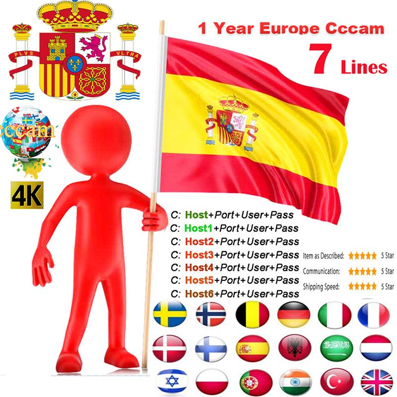 Cccam Europa Spain For DVB-S2 Support Cccams Portugal Italy For 1 Year Via Wifi Dongle High Quality Stable