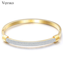 Fashion Gold Bracelet Bangles Femme Crystal Jewelry Stainless Steel Cuff Bangles For Women Charming Cz Bracelets Bangle(China)