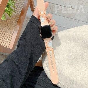 Image 3 - Bracelet en Silicone dessin animé mignon pour Apple Watch, 44mm 40mm 38mm 42mm pour IWatch série 6 5 4 3 2 1, Bracelet à boutons