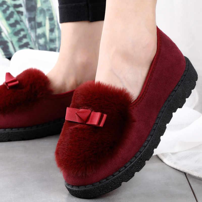 Faux Fur enkellaarsjes Winter Katoen slippers zachte plus Boog Warme laarzen Met Pluche Binnenkant Dropshipping Vrouwen Mode Peas Schoenen