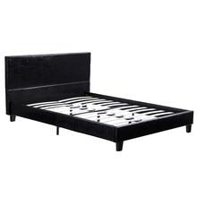Einfache PU Bett Rahmen Starke Volle Größe Metall Bau Moderne Stil Schwarz Einfach zu Montieren [US-Lager]