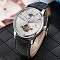 Tourbillon механические часы для мужчин с дисплеем Луны и фазы  с автоматическим заводом  деловые мужские автоматические часы из натуральной кож...