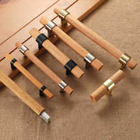 Natural wooden + T bar Door Handles American style Furniture Handles knob Drawer Pulls Kitchen Cabinet Knobs and Handles
