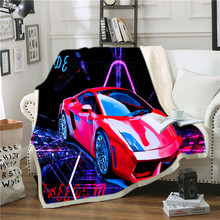 Sports car Printed Velvet Plush Throw Fleece Blanket Bedspread Sherpa Blanket Couch Quilt Cover Travel Youth Bedding Outlet stranger things blanket for beds hiking picnic travel winter thick couch cover hot movies bedspread sherpa fleece throw blanket