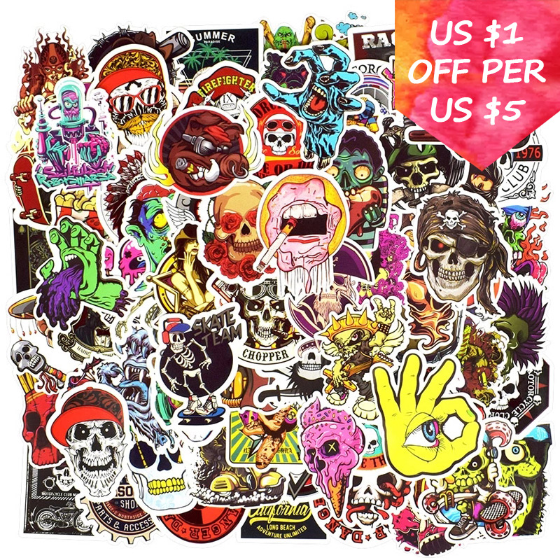 150Pcs Zombie Monsters Stickers For Suitcase Skateboard Laptop Cell Phone Motorcycle Bicycle Car Accessories Punk Skull Stickers
