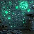 30 см Луна 435 шт. модель в горошек со звездами и зеленая светящаяся Настенная Наклейка для детской комнаты потолочный лестница обои люминесце...