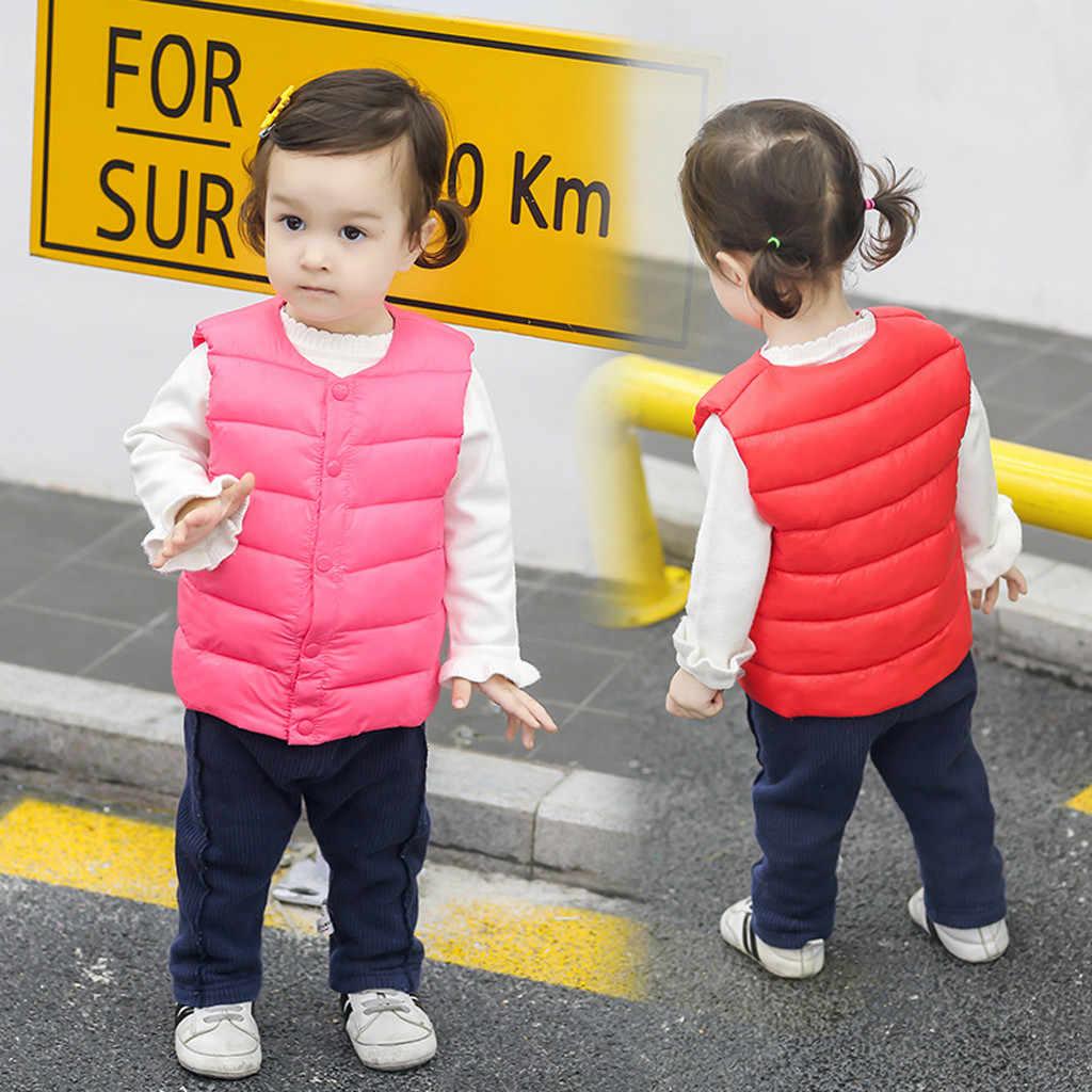 MUQGEW 2019 chico chaquetas para niños niñas Chaleco de rayas sólidas chaleco abrigado cortavientos impermeable chico