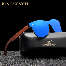 KINGSEVEN Natural Wooden Sunglasses Men Polarized Fashion Sun Glasses Original Wood Oculos de sol masculino cheap CN(Origin) SQUARE Adult BAMBOO UV400 Mirror Anti-Reflective 46MM Polycarbonate B-5504 Eyewear 65MM