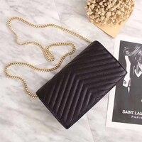 Luxury Women Genuine Leather Handbags Designer Caviar Leather Chain Mini Bag Genuine Leather Bags For Women 2019 Messenger Bags