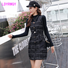 2019 Japanese style tweed skirt two-piece suit Knee-Length Pullover Button Fly Regular Turtleneck