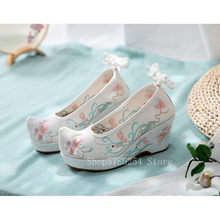 Fée Cosplay traditionnel chinois chaussures broderie florale Vintage Hanfu chaussures femmes à talons hauts boeuf Tendon fille toile Lolita(China)
