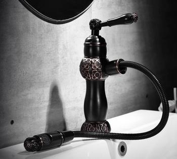 Całkowicie miedziany europejski czarny brąz umywalka kran wody antyczne rzeźbione może wyciągnąć umywalka ciepła i zimna woda kran tanie i dobre opinie 2 kg Zawór ceramiczny Klasyczny ZAMONTOWANE NA PANELU Baterie umywalkowe Pojedynczy uchwyt